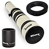 Ultimaxx 650-1300mm (1300-2600mm) Telephoto Zoom Lens for Canon EOS 7D, 6D, 6D Mark II,5D, 5Ds, 1Ds, 80D, 77D, 70D, 90D, T7s, T7i, T6s, T6i, T6, T5i, T5, T4i, T3i and SL1 Digital SLR Cameras
