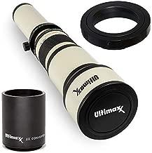 Ultimaxx 650-1300mm (w/ 2X Converter 1300-2600mm) Telephoto Zoom Lens Set for Canon EOS 9000D 800D 760D 750D 700D 1300D 1200D T100, 4000D, 3000D, 2000D, 1500D DSLR Cameras