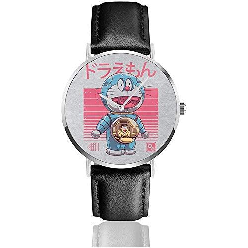 Doraemon Dorae Bot Uhren Quarz Lederuhr mit schwarzem Lederband für Sammlungsgeschenk