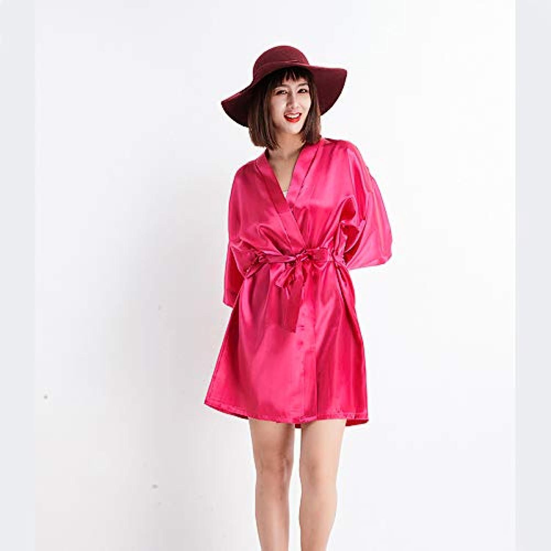 IANXI Home Women's Nightgown Simulation Silk Kimono Robe Elegant Pure color Thin Cardigan Robe Summer Sexy Short Bathrobe (color   pink red, Size   L)