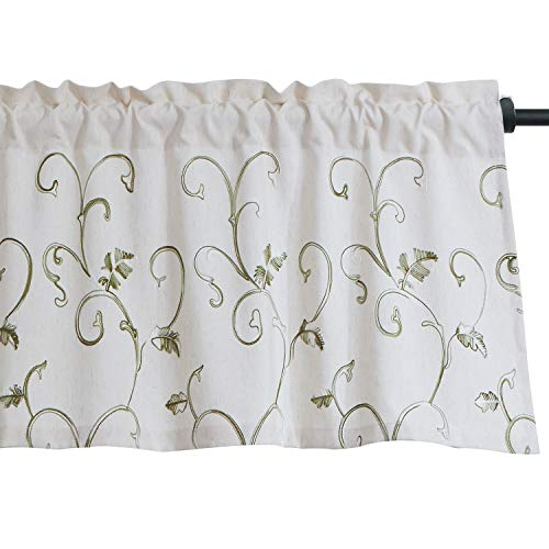 VOGOL Vines Embroidered Curtains Valance, Rod Pocket Valances for Windows, 52 x 18 Inch, Grass Green