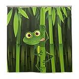 BIGJOKE Duschvorhang, Frosch, Bambus, schimmelresistent, wasserdicht, Polyester, 12 Haken, 182,9 x 182,9 cm, Heimdekoration