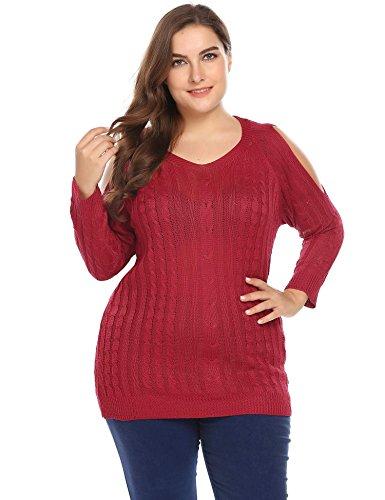 Zeagoo Damen-Pullover, Übergröße, V-Ausschnitt, schulterfrei, fester Zopfmuster, lässiger Pullover -  Rot -  48 Mehr