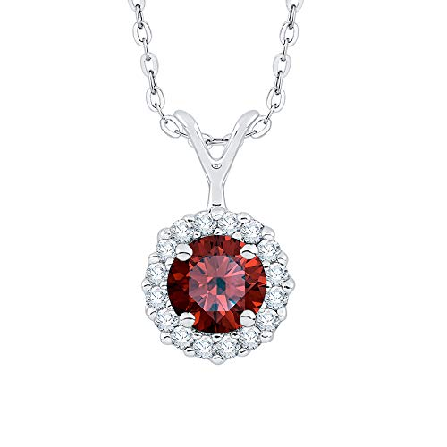 KATARINA Collar con colgante de halo de diamantes y granate en oro o plata (3/8 cttw, J-K, SI2-I1)