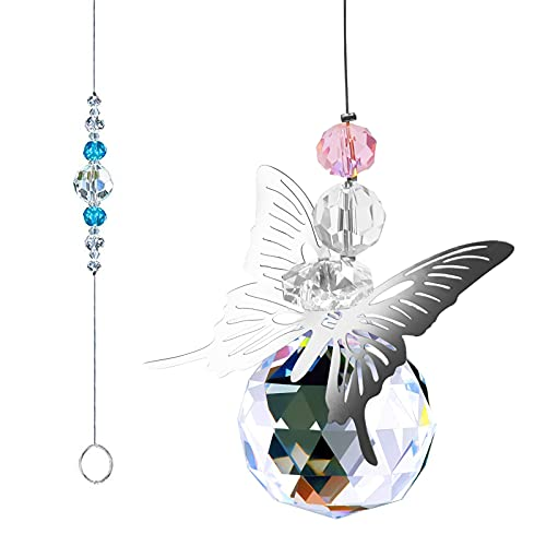 Cristal arcoíris,Colgantes de Cristal,Cristal Prisma,Cristal Colgante para Ventana,Prisma Cristal,Colgante de Ventana Cristal,Bola de Cristal Colgante de Cristal,Arcoiris de Cristal (Mariposa)