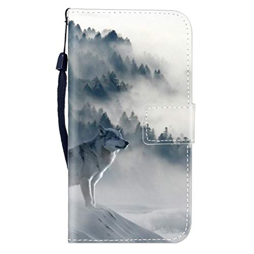 Sunrive Hülle Für Lenovo K6 / K6 Power, Magnetisch Schaltfläche Ledertasche Schutzhülle Etui Leder Hülle Cover Handyhülle Tasche Schalen Lederhülle MEHRWEG(W8 Wolf)