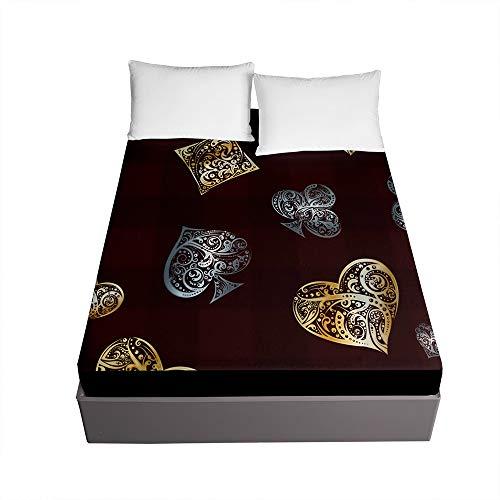 Bedding Sábana Bajera Ajustable, Treer Bolsillo Profundo de 30cm Microfibra Suave con Esquinas Elasticidad y Antiarrugas Protector de Colchón (Amor de Oro,150x200x30cm)