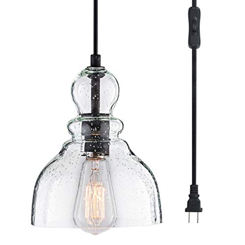 LANROS Swag Lights with 15.7 Ft Plug-in Cord and On/Off Switch, Handblown Clear Seeded Glass Shade...