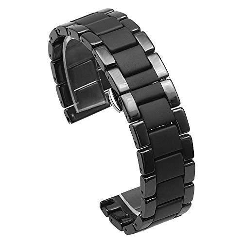 メタルウォッチバンドベルト20mm 磨かれた マットセラミック腕時計 バンドステンレス バタフライ展開クラスプ付き 交換用バンド 女性腕時計ブレスレットブラック