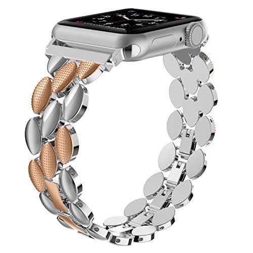Wearlizer - Correa de Repuesto para Apple Watch, 42 mm, 44 mm, Acero Inoxidable, Metal, para iWatch Serie 5 Serie 4 Serie 3 2 1 – Plata + Cobre 20B