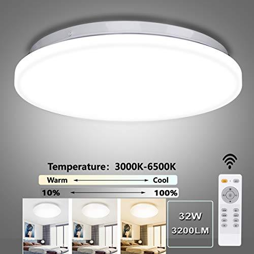 LED Deckenleuchte Dimmbar, Ouyulong LED Deckenleuchte mit Fernbedinung, 32W, 3000-6500K, 3200LM, Lichtfarbe und Helligkeit Einstellbar, Lampe für Wohnzimmer, Schlafzimmer, Kinderzimmer, Küche