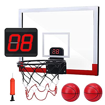 EagleStone Indoor Mini Basketball Hoop Set for Kids with Electronic Score Record and Sounds, Basketball Hoop Over The Door with 2 Balls, Hand Pump Basketball Toy Gifts for Boys Teens Adults by EagleStone