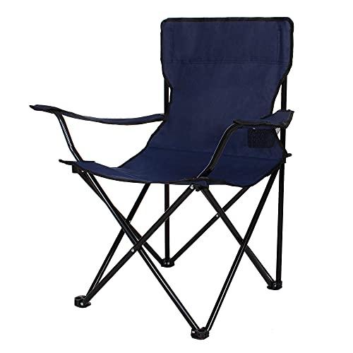 SPRINGOS Chaise de camping pliante avec porte-gobelet, chaise de pêche, chaise de pique-nique en plein air, chaise de plage, jardin (bleu marine)