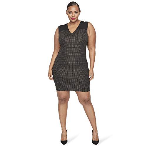 RACHEL Rachel Roy Women's Plus Size Callie Dress, Black Gold, 2X