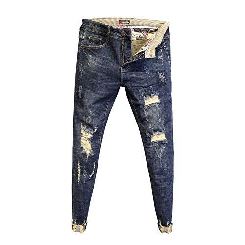 ShSnnwrl Guapo Jeans Vaqueros Pantalon Moda Cintura Baja Lavado Pantalones De Borde Crudo Pantalones De Pies...