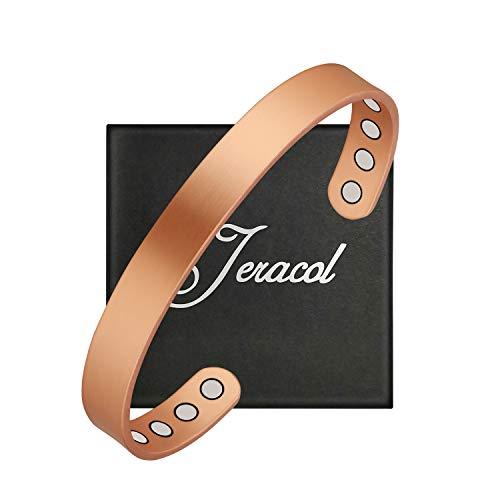 Jeracol - Braccialetti in rame per artrite, da uomo e donna, magnetici per alleviare il dolore, emicrania, con otto potenti magneti, stile semplice, regolabile, con confezione regalo