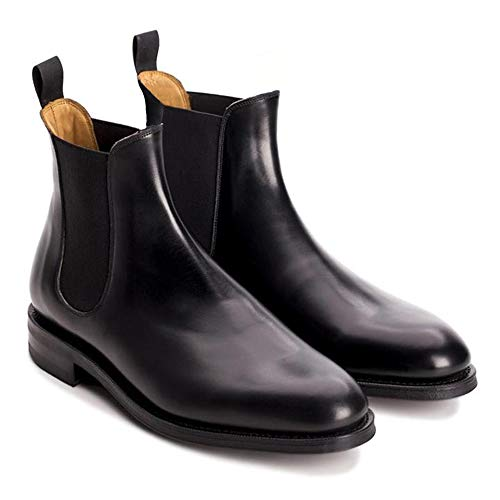 CARA ITALIA Havant Men's Black Vegan Faux Leather Slip on Chelsea Boots