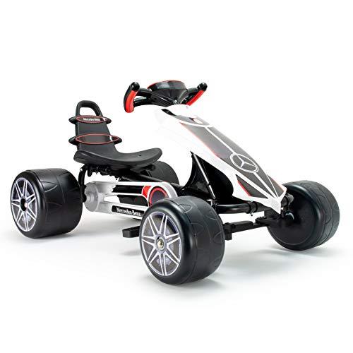 INJUSA - Kart Mercedes mit Pedalen für Kinder ab 2 Jahren, schalgfest mit Bremse, festem Gang und höhenverstellbaren Rückenlehne