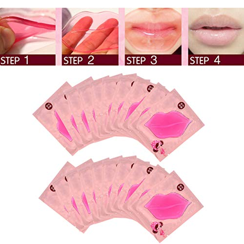 CCbeauty Pink Lip Mask 20-Pack Collagen Crystal Gel Lip Care Mask hydrating Moisturizing Essence,Remove Dead Skin, Anti Chapped Pads Lip Masks for Dry Lips