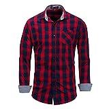 Camisas de Manga Larga a Cuadros para Hombres Camisa Casual Camisa de Solapa con Botones básicos de Gran tamaño Europeo y Americano de Ajuste Regular M