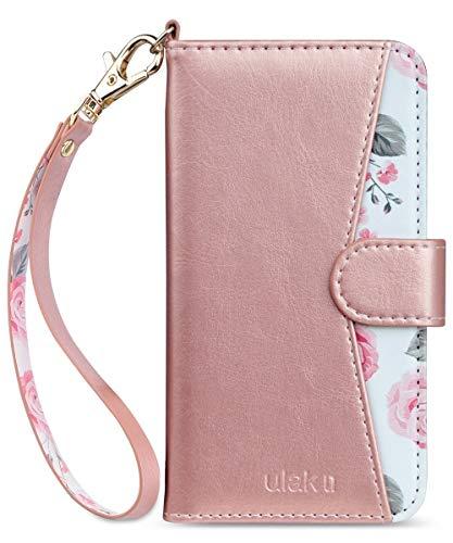 ULAK iPhone SE 2020 Hülle, iPhone 7/8 Premium Lederhülle Flip Cover Tasche Brieftasche Schutzhülle Magnet Handyhülle Standfunktion mit Kartenfächer case Kompatibel für iPhone 7/8/SE 2(2020) - Roségold