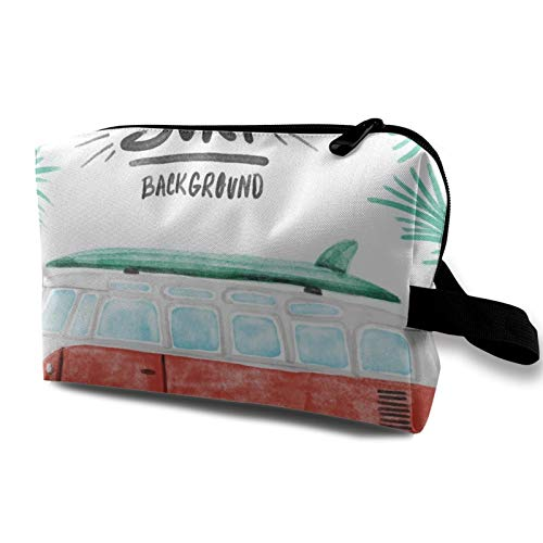 Travel Makeup Canvas Storage Bag- Portable Toiletry Handbag Small Cosmetic Organizer Coin Pouch for Girls Women Men- Vintage Mini Bus In Hawaii Beach Palm Trees Watercolor Luxurious Vacation