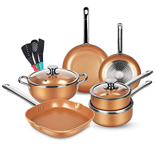 KUTIME 12pcs Nonstick Cookware Set, Pots and Pans Set with Stainless Steel Handles, Frying Pan Set Copper Ceramic Coating Grill Pan Nonstick Stock...