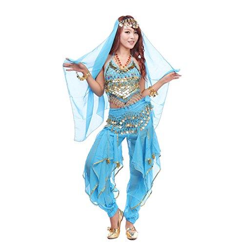 Best Dance, Bauchtanz-Kostüm-Set, 4-teilig, mit Oberteil, Hose, Hüftschal, Schleier und mit Münzen