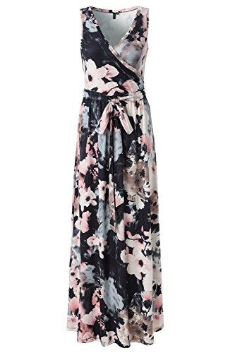 Zattcas Womens Bohemian Printed Faux Wrap Bodice Sleeveless Crossover Maxi Dress,Black Multi,X-Large