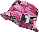 Deewang Unisex 100% Cotton Premium Summer Bucket Hat Safari Packable Outdoor Beach Sun Hat (Pink Camo, Small/Medium)