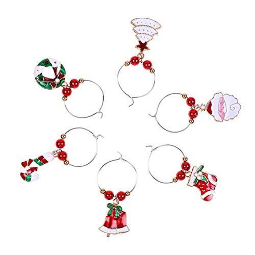 Decorazioni natalizie in vetro per vino festa capodanno tazza anello decorazione per la tavola decorazioni natalizie in vetro per vino cerchio atmosfera natalizia tazza Ciondolo anello decorativo