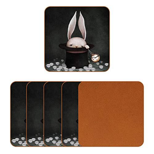 Posavasos de cuero para bebidas, diseño de conejo sobre gorro de bruja, cuadrado, para proteger muebles, resistente al calor, decoración de bar de cocina, juego de 6