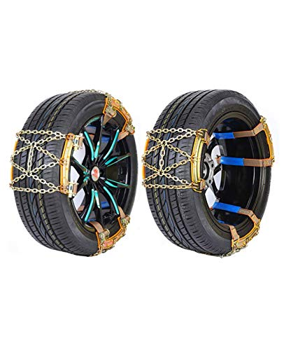 GENRAL 6Pcs Snow Chains Snow Chains Snow Chains, Universal Emergency Anti-Slip Chains, Universal 175-205mm Wide Tires Adjustable for Cars/Trucks/SUVs