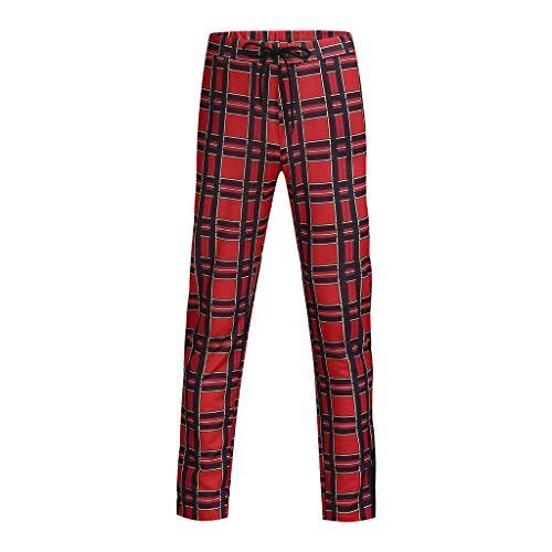 ZARLLE_Pantalones Pantalones para Hombre chándal elásticos para Hombre Leggings Deportivos de Bolsillo a Cuadros Pantalones Sueltos Casuales con cordón