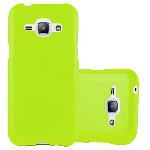 Cadorabo Custodia per Samsung Galaxy J1 2015 in Jelly Verde - Morbida Cover Protettiva Sottile di Silicone TPU con Bordo Protezione - Ultra Slim Case Antiurto Gel Back Bumper Guscio