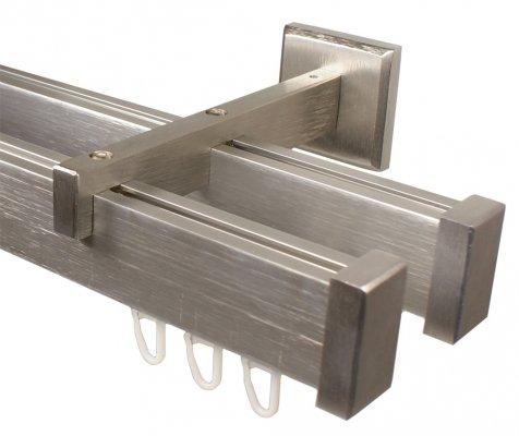 eckige Design Innenlauf Gardinenstange 2-läufig aus Aluminium in Edelstahl Optik 180 cm