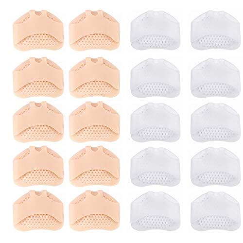 Almohadilla para pies unisex, almohadilla para pies de silicona suave y transpirable,almohadilla para pies de gel,pie diabético, córnea, ampollas,5 pares de beige + 5 pares de colores transparentes
