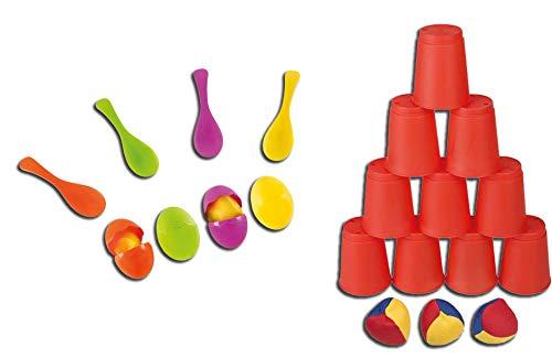 Idena 40074 Geschicklichkeitsspiel Eierlaufen, mit 4 Eiern und 4 Löffeln, perfekt für drinnen und draußen, Partys und Sportfeste (Eierlaufen + Ballwurfspiel, bunt)