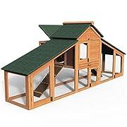 MAISON CONFORTABLE POUR LES POULES:Notre poulailler se compose de trois parties. Deux espaces extérieurs cloisonnés, les poules peuvent se déplacer librement tout en restant dans le poulailler. Dans l'espace en haut, ils peuvent dormir paisiblement o...