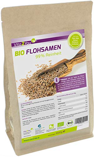 BIO Flohsamen 99% Reinheit - 1000g Zippbeutel - Höchste Reinheit - 1kg indische Flohsamen - Premium Qualität