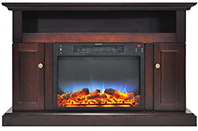 CAMBRIDGE Sorrento Multi-Color LED Insert and Entertainment Stand in Mahogany, CAMBR5021-2MAHLED Electric Fireplace