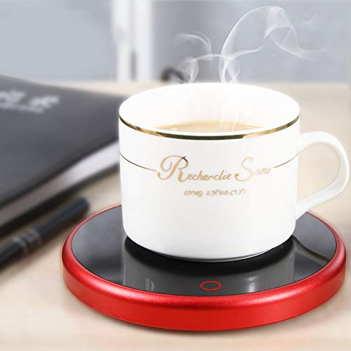 Duokon Riscaldatore Elettrico scaldini a Ventosa Desktop Tazza da tè Latte scaldabiberon Vassoio casa Forniture Ufficio 220-240 V(Spina Rossa EU)
