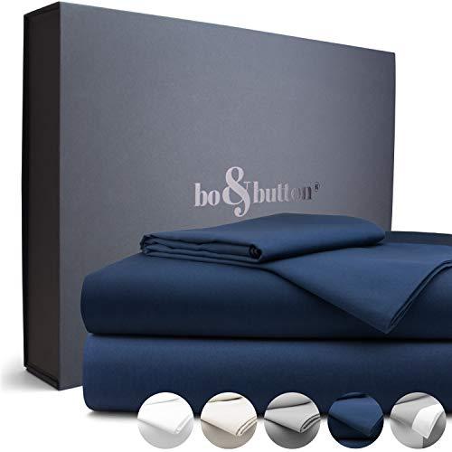 bo&button® Mako Satin Bettwäsche, echte Luxusqualität, Set 135x200 cm, 100% feinste GOTS Bio Baumwolle, Navy/Dunkelblau/Marineblau
