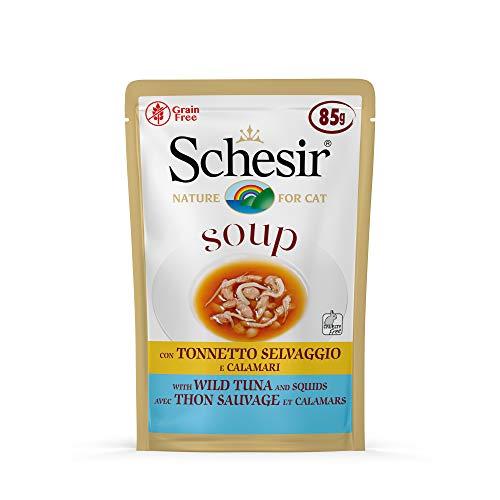 Schesir Cat Soup Thunfisch mit Tintenfisch, Katzenfutter Suppe, 20 Beutel x 85 g