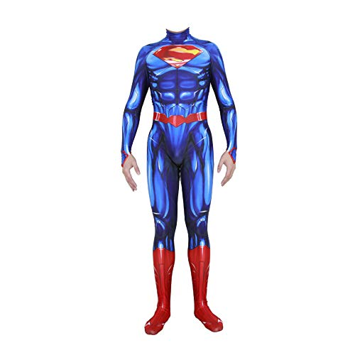 NVHAIM Disfraz de Anime de Cosplay de Superman, nios Adultos The Man of Steel Movie Fans Apparel Mono de superhroe para Disfraces, Juego de rol Medias conjuntas Traje de Batalla,Men XXL