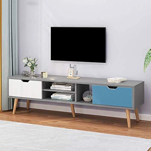 CSD Soporte de televisión Modern Media Stand Entretenimiento Centro de Entretenimiento TV Almacenamiento Consola Gabinete de TV Gratis de pie (Color : White+Blue, Size : 140x30x43CM)