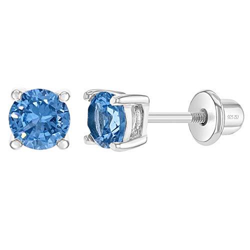 In Season Jewelry Plata Fina 925 Pendientes con Cierre de Mariposa Roscado en Forma Circular con Circonita Azul de 4 mm para Niñas y Niñas Pequeñas