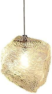 Free Warm White Bulb Ice Cube Stone Pendant Light Ripple Glass Pendant Lamp Bar Counter 96-240V E27 Nordic Hanging Lamp Kitchen Light Fixture Size : 15cm Single Head - Wattage - Free Warm White Bulb