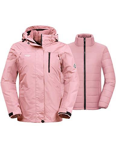 Wantdo Women's 3-in-1 Skiing Jacket Wind Block Snowboarding Raincoat Coral L