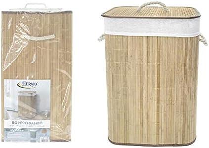 TIENDA EURASIA® Cesta de Bambu para la Ropa Sucia - Cesta Plegable con Tapa y Funda Interior - Ideal para organizar la Ropa para la Colada (Natural, Rectangular 40X30X60 CM)